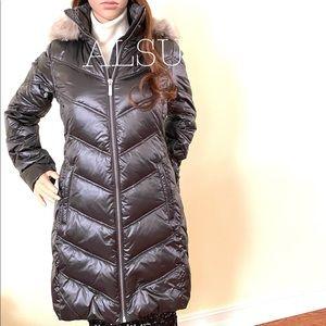 Michael Kors Faux-Fur-Trim Hooded Down Puffer Coat
